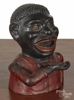 Shepard Hardware cast iron Jolly black man mechanical bank