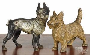 Two cast iron dog doorstops