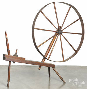 Large oak spinning wheel
