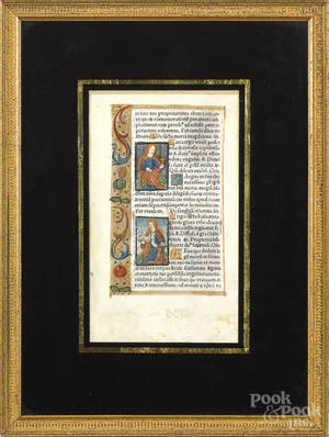 Three medieval style printed and illuminated manuscript pages on paper