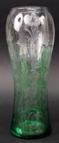 19th Century Wheel Cut Green Cut To Clear Vase