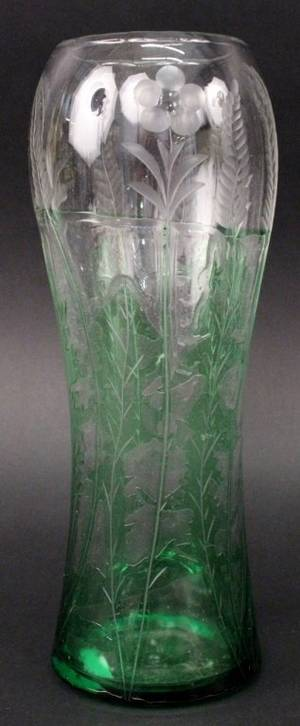 19th Century Wheel Cut Green Cut To Clear Vase