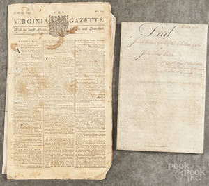 Six Pennsylvania and Virginia indentures and land grants