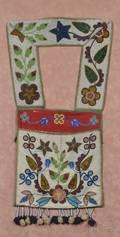 Framed Chippewa Beaded Cloth Bandolier Bag
