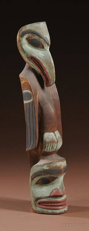 Northwest Coast Carved and Painted Wood Totem Pole
