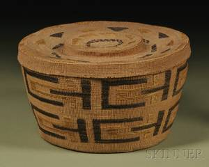 Tlingit Polychrome Twined Lidded Basket