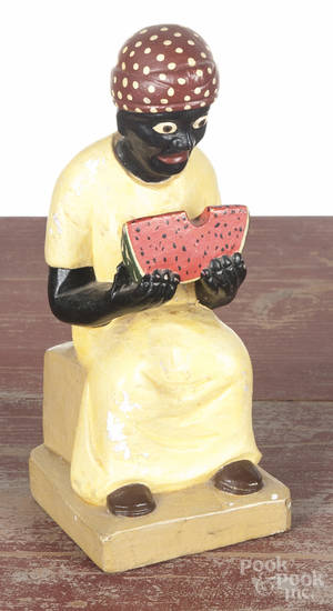 Carved and painted black Americana mammy