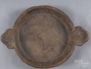 Large carved walnut handled bowl