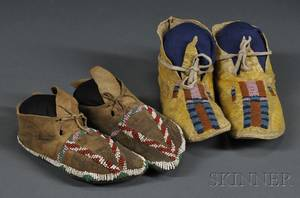 Two Pairs of Beaded Hide Childs Moccasins