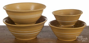 Assembled nest of four yelloware mixing bowls