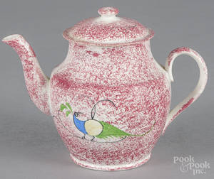 Red spatter peafowl teapot