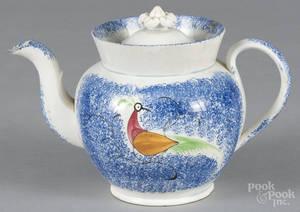Blue spatter peafowl teapot