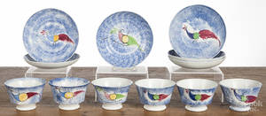 Set of six spatter peafowl cups and saucers