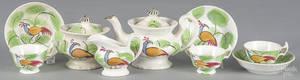 Childs green ninepiece spatter peafowl tea service