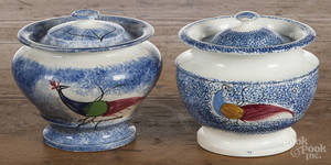Two blue spatter peafowl sugar bowls