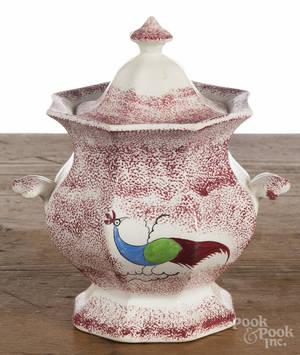 Red spatter peafowl sugar bowl