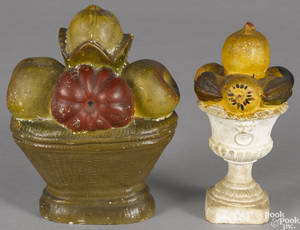Two painted chalkware fruit compotes 19th c