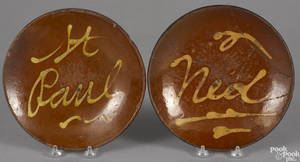 Two Connecticut redware plates 19th c