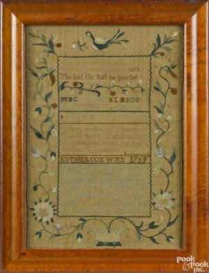 Philadelphia silk on linen sampler ca 1775