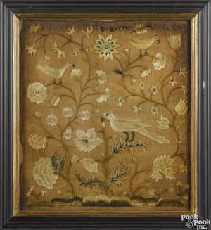 Pair of silkwork panels dated