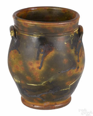 New England redware crock 19th c