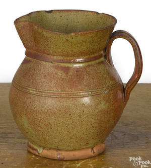 New England redware pitcher 19th c