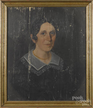 American oil on panel portrait of a woman