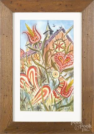 Watercolor folk farmscene