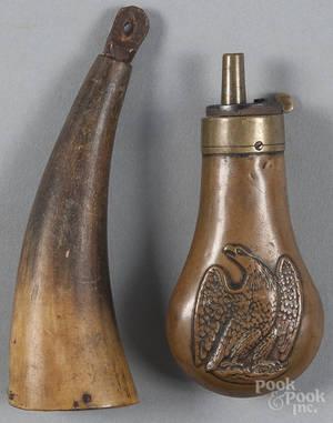 Copper embossed eagle pistol powder flask 19th c
