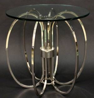 Mid Century Style Chrome and Glass Side Table