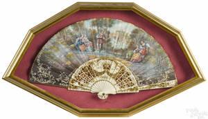 Framed Victorian hand fan