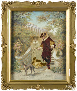 Needlework and paint on linen courting scene