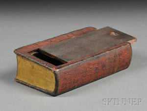 Carved and Painted Wooden Bookform Slidelid Box