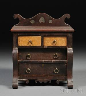 Miniature Stencildecorated and Grainpainted Empire Bureau