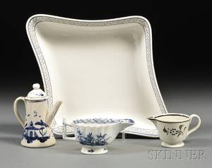 Enameldecorated Creamware Dish and Three Miniature Pearlware Serving Dishes
