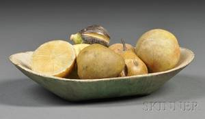 Small Carved and Painted Chopping Bowl with Seven Pieces of Stone Fruit