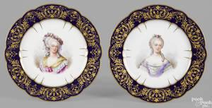 Pair of Sevres painted porcelain portrait plates 1844