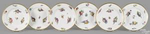 Set of six Sevres painted porcelain plates 1822