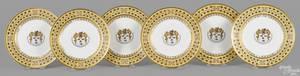 Set of six Sevres porcelain armorial plates 1813 made for Mason L Barton of Straffan County Kildare Ireland