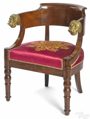 French Empire mahogany low back armchair