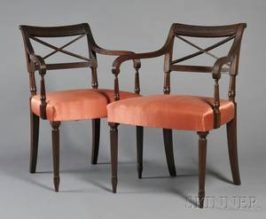 Pair of Federal Carved Mahogany Armchairs