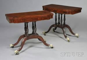Pair of Federal Carved Mahogany and Mahogany Veneer and Rosewoodinlaid Card Tables