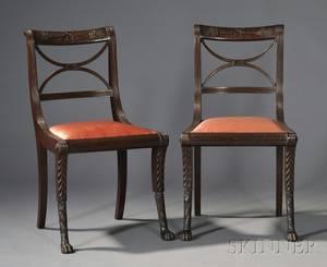 Pair of Classical Mahogany Klismos Side Chairs