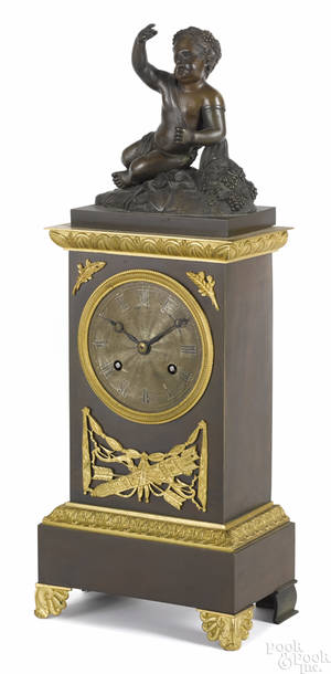 French bronze mantel clock late 19th c