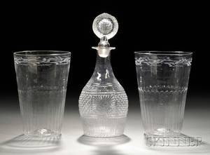 Pair of Blown Colorless Flip Glasses and a Blown Threemold Glass Decanter