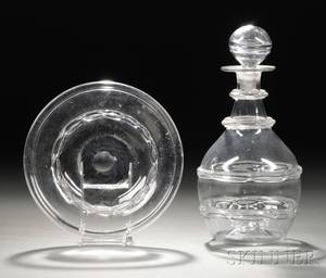 Colorless Blown Molded Glass Decanter and Undertray