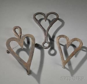 Three Wrought Iron Heartshaped Trivets