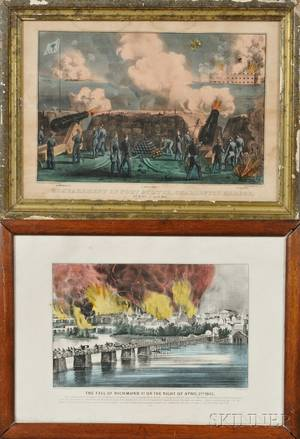 Currier  Ives publishers American 18571907 Two Civil War Prints The Fall of Richmond Va on the Night of April 2nd