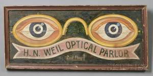 Painted Wooden Opticians Trade Sign