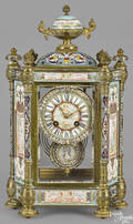 French bronze cloisonn and porcelain mounted mantel clock late 19th c